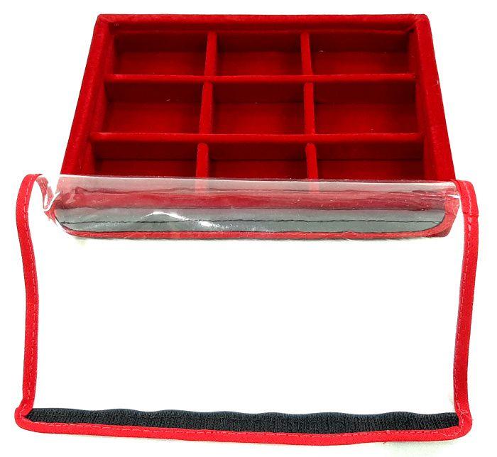 Bandeja Mini Quadriculada  Veludo Vermelho com tampa plástica transparente