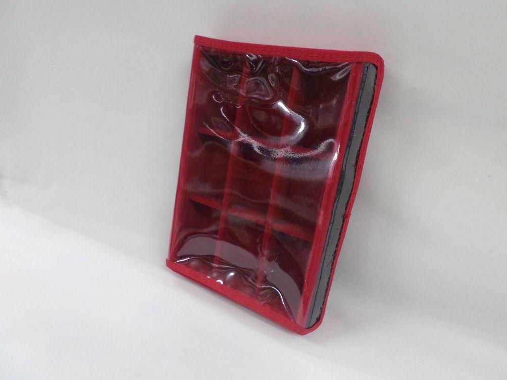 Bandeja mini Quadriculada  Veludo Vermelho com tampa plástica transparente (velcro ) 20x14x3