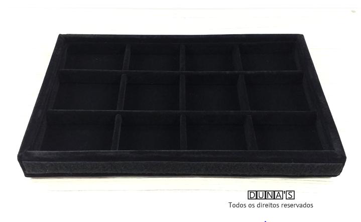 Bandeja quadriculada média Veludo Preto com tampa transparente ( 19x28x2 ) 12 espaços