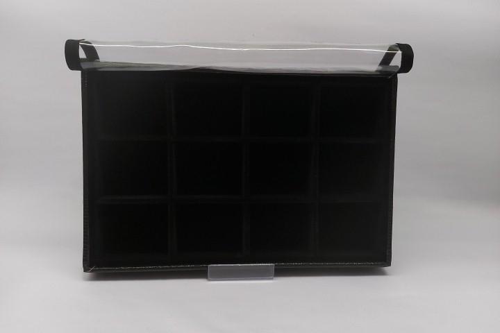 Bandeja Quadriculada Média Veludo Preto com tampa transparente - 12 espaços