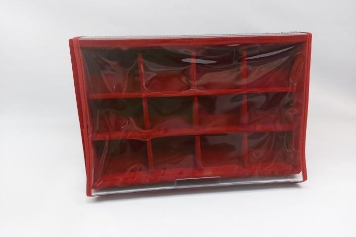Bandeja Quadriculada Média Veludo Vermelho com tampa transparente - 12 espaços
