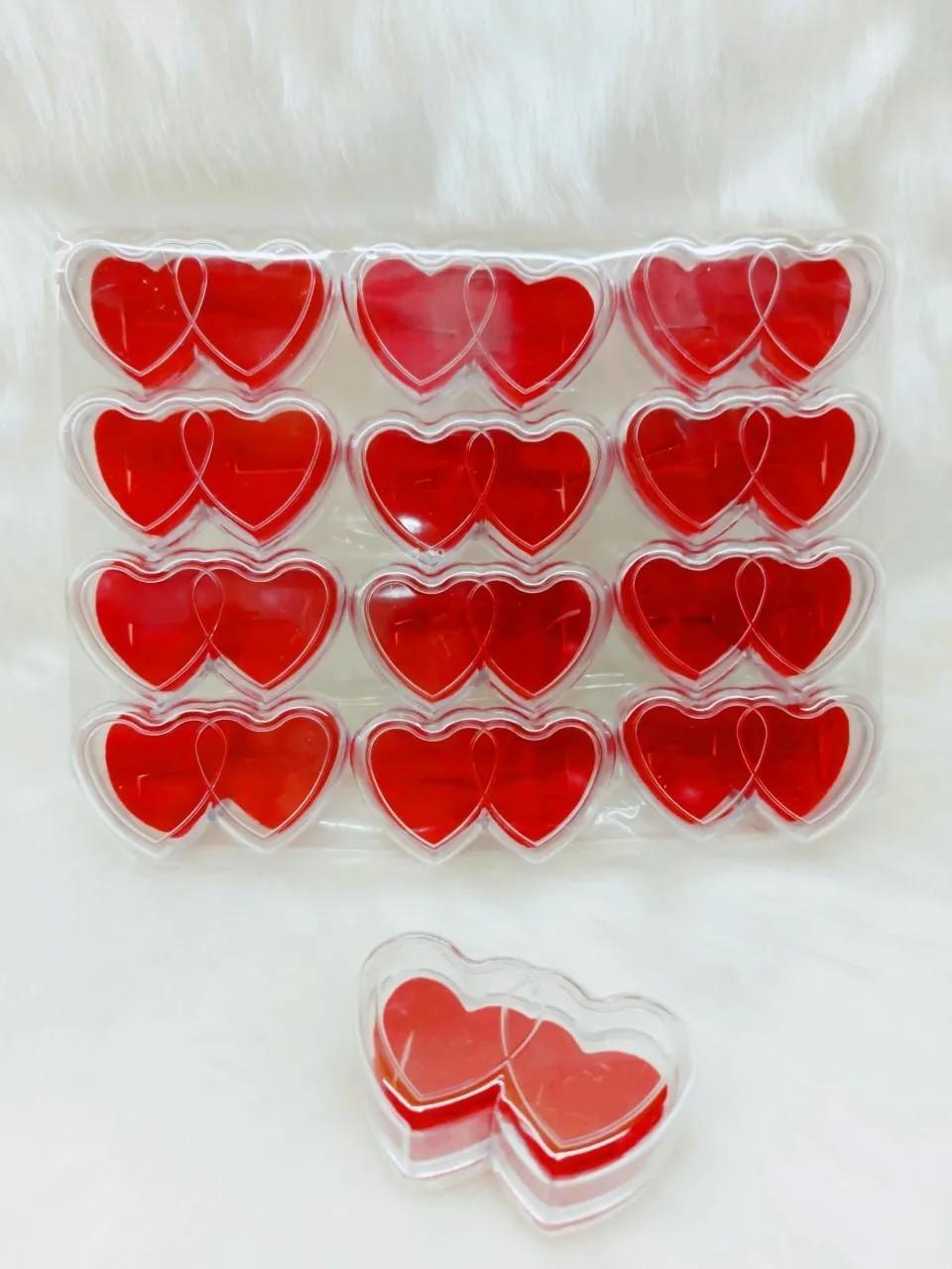 Caixa Acrílico dupla Coração - Vermelho- 12 unidades