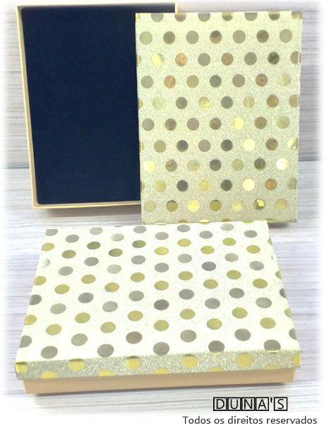 Caixa Conjunto 12.5x16.5x3 Dourada poá
