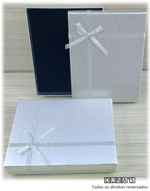 Caixa Conjunto 12.5x16.5x3 Prata com laço