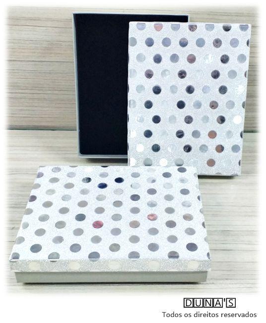 Caixa Conjunto 12.5x16.5x3 Prata poá