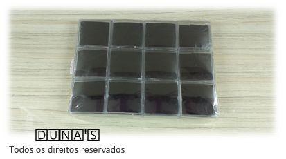Caixa de Acrílico 6x6x2 (fundo preto) pacote com 12 unidades
