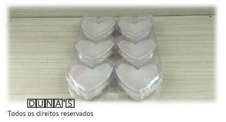 Caixa de Acrílico de Coração para conjunto 9x9x3 (fundo branco)  pacote com 6 unidades