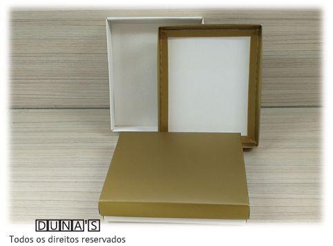 Caixa Dourada com espuma  13x16x3 para bijouteria ( pacote com 10 unidades)