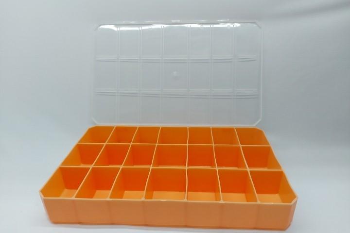 CAIXA ORGANIZADORA - laranja - ( 21 divisórias )