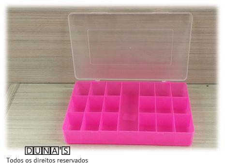 Caixa Plástica Organizadora 30x18x4 quadriculada 19 divisórias  ROSA