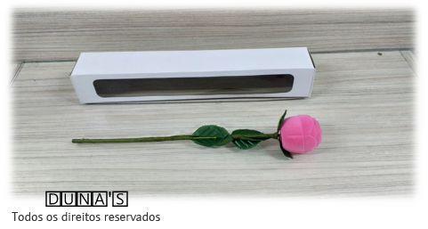 Caixa Veludo Anel Modelo Rosa -  (Cor de Rosa )