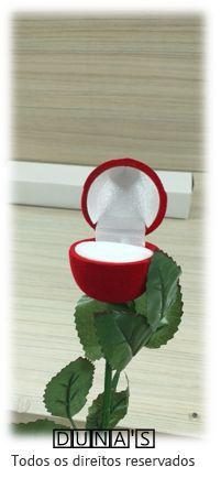 Caixa Veludo Anel Modelo Rosa - Vermelho