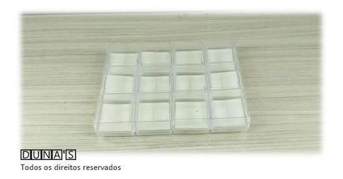 Cx Acrílico Para Anel 4x4x3 Fundo BRANCA Pacote Com 12 Unid