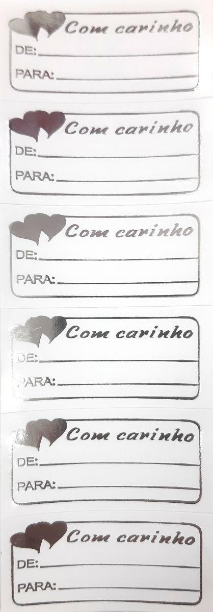 ETIQUETAS ADESIVAS - PRATA - COM CARINHO (CORAÇÕES)