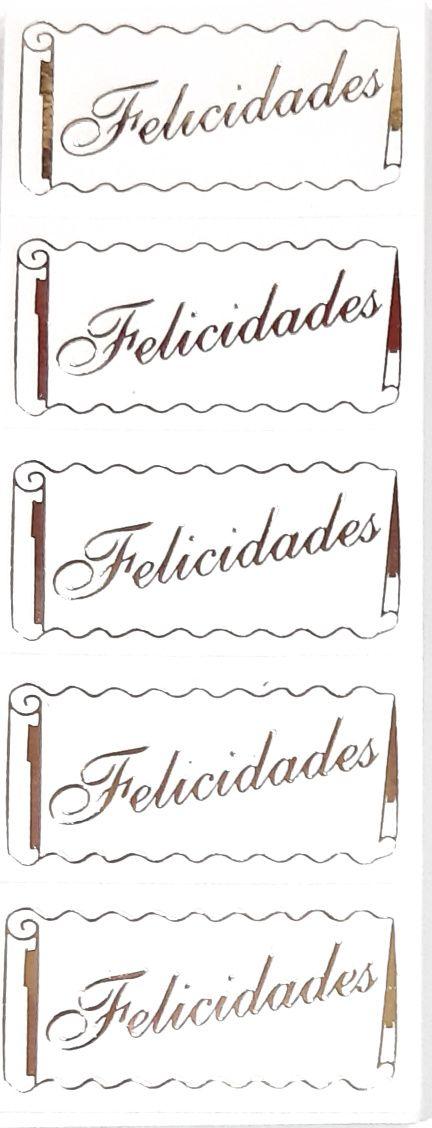ETIQUETAS ADESIVAS ( FELICIDADES ) OURO
