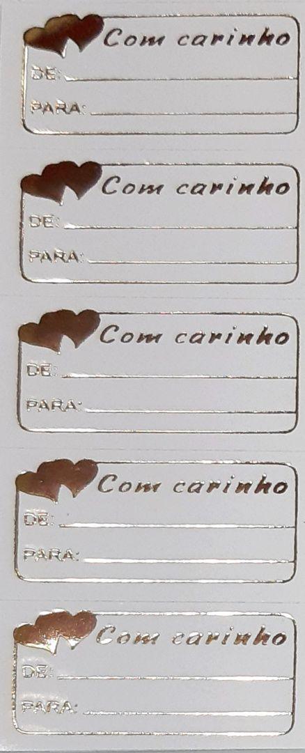 ETIQUETAS ADESIVAS - OURO - COM CARINHO (CORAÇÕES)