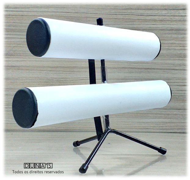 Expositor de Pulseira ( pé de ferro ) Duplo Napa Branco 30x23x16
