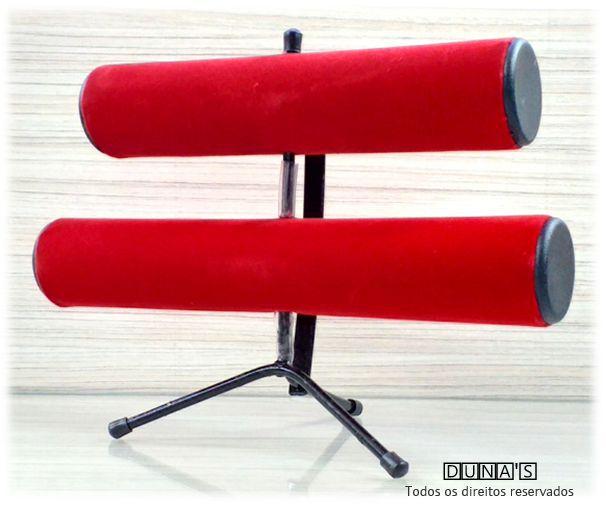Expositor de Pulseira ( pé de ferro ) Duplo Veludo Vermelho 30x23x16