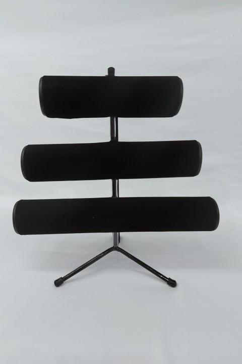 Expositor de Pulseira ( pé de ferro ) Triplo Veludo Preto 30x30x16