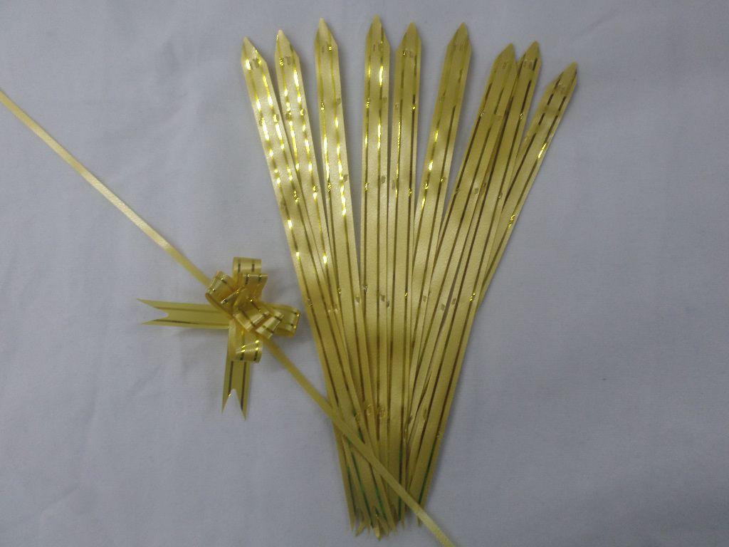 Laço Mágico Pequeno Amarelo com dourado ( pacote com 10 unidades )