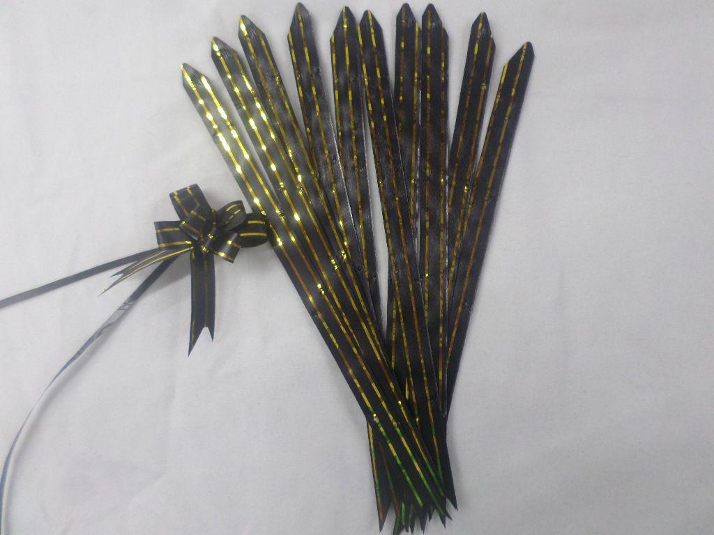 Laço Mágico Pequeno Preto com dourado ( pacote com 10 unidades )