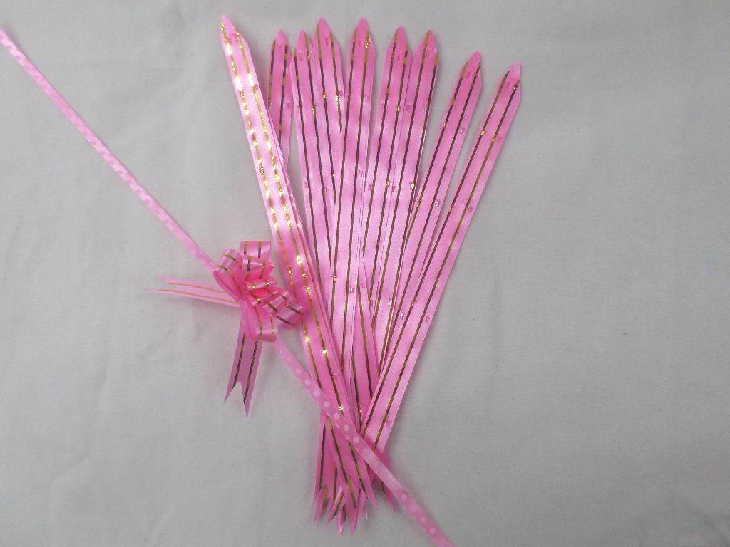 Laço Mágico Pequeno Rosa com dourado ( pacote com 10 unidades )