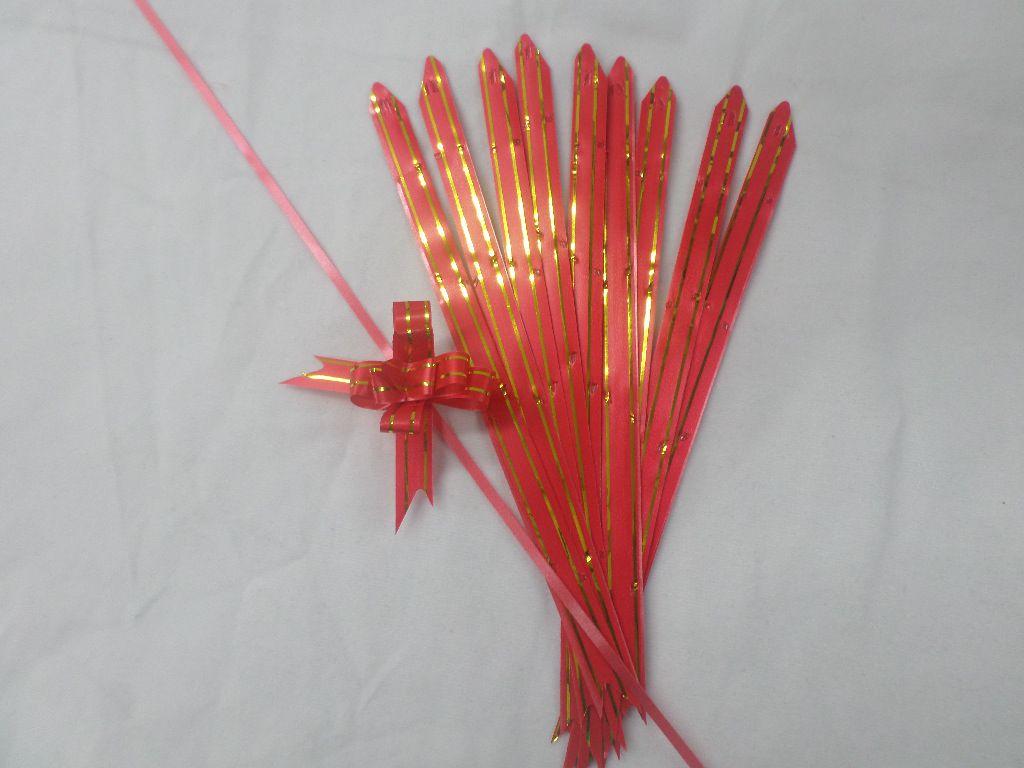 Laço Mágico Pequeno Vermelho com dourado ( pacote com 10 unidades )