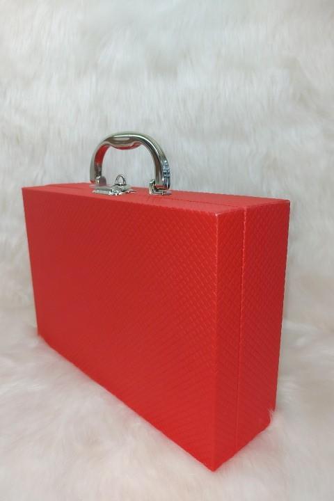 Maleta Para Bijuterias -( P ) Vermelho - textura