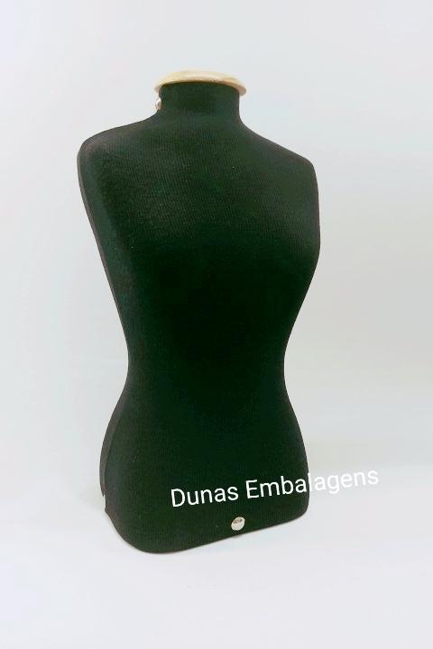 Manequim M Tecido ( preto ) para Exposição de jóias e bijouterias