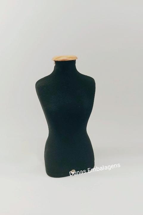 Manequim P Tecido ( Preto ) Para exposição de jóas e bijouterias