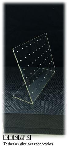 Placa de Acrílico para Brincos transparente 15x19x6 (54 furos )
