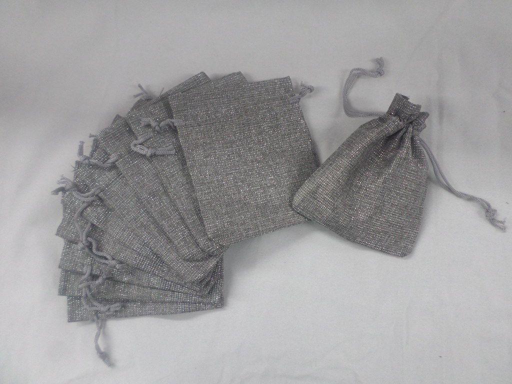 Saco de Juta 10x11 cinza com brilho pacote com 10 unidades