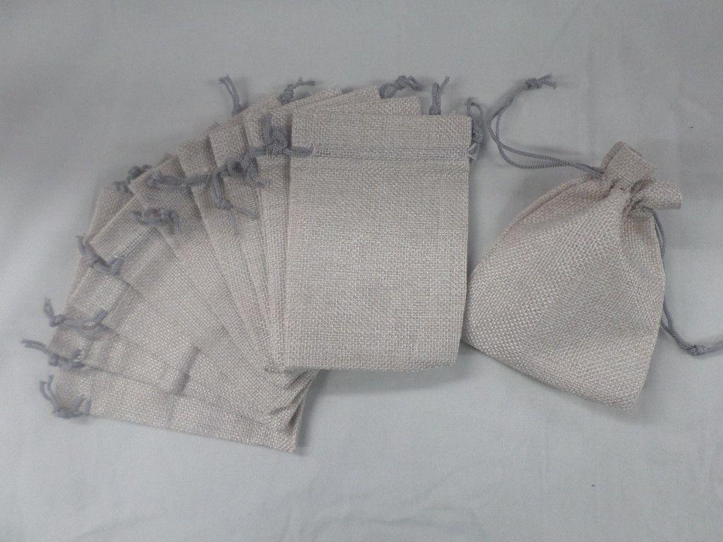 Saco de Juta 9x13 cinza pacote com 10 unidades