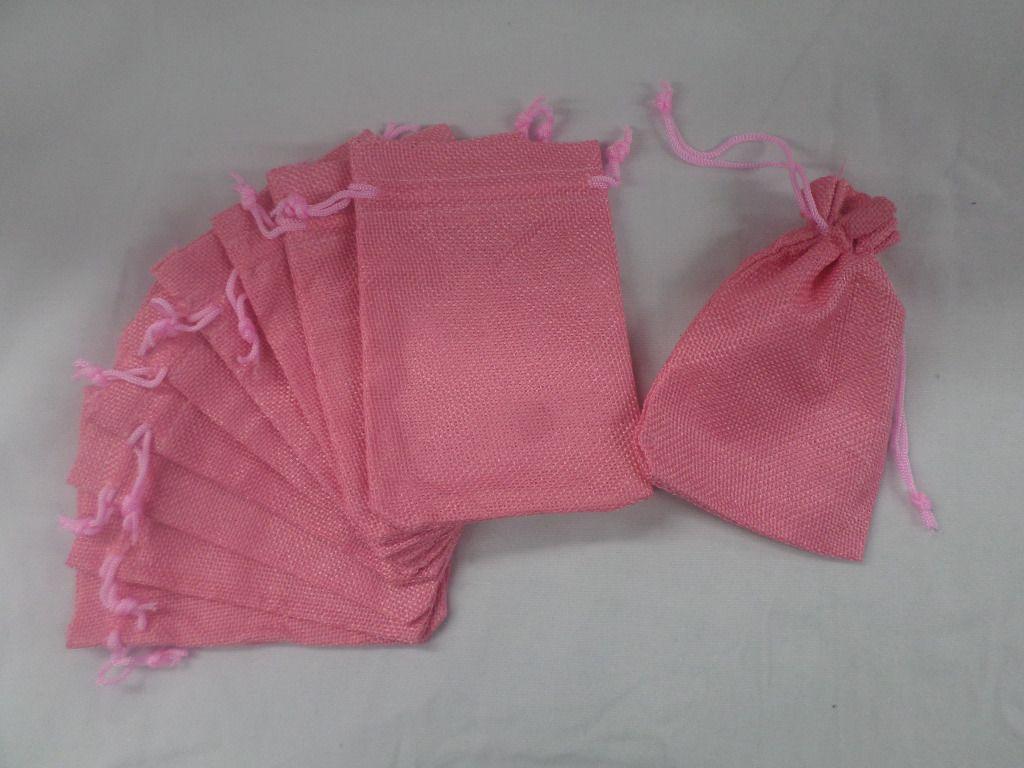 Saco de Juta 9x13 Rosa pacote com 10 unidades