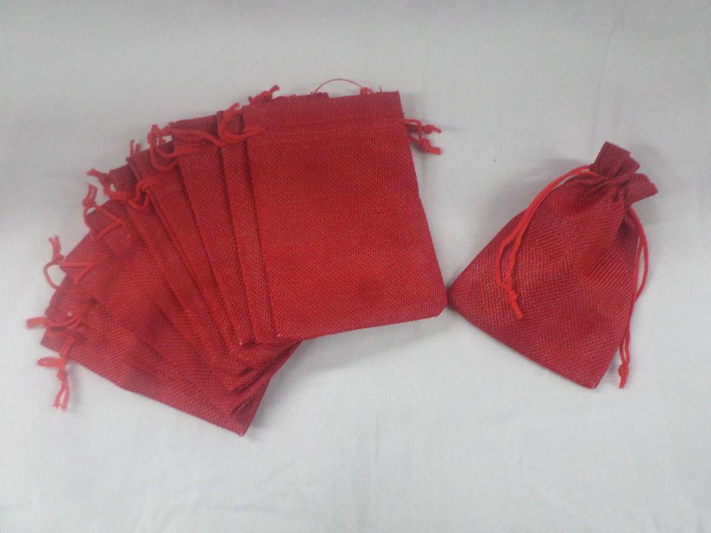 Saco de Juta 9x13 vermelho pacote com 10 unidades