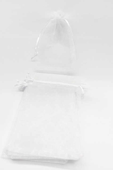 Saco de Organza 10x15 Branco pacote com 100 unidades