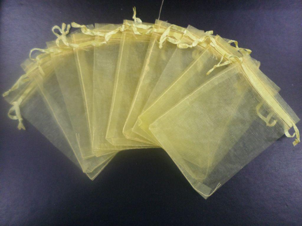 Saco de Organza 10x15 Dourado pacote com 100 unidades
