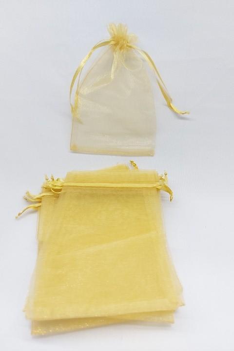 Saco de Organza 10x15 Dourado pacote com 10 unidades