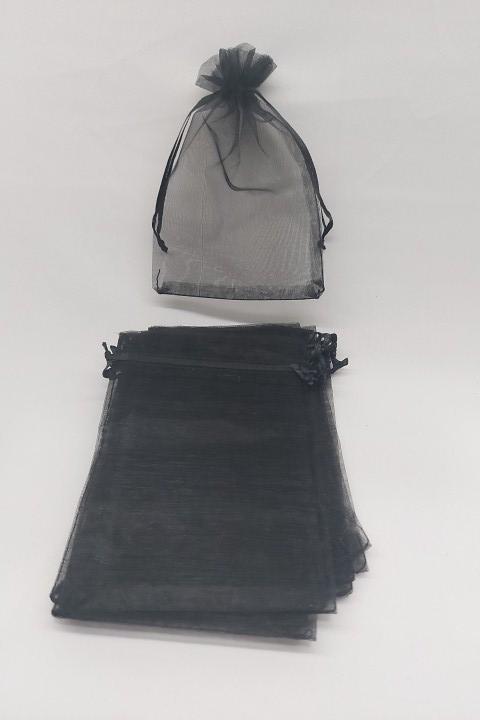 Saco de Organza 10x15 Preto pacote com 100 unidades