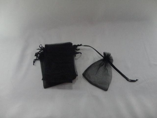 Saco de Organza 10x15 Preto pacote com 10 unidades