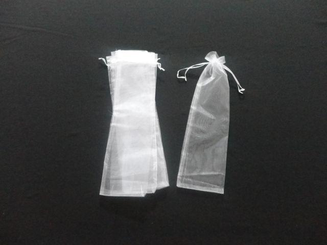 Saco de Organza 10x35 branco pacote com 10 unidades