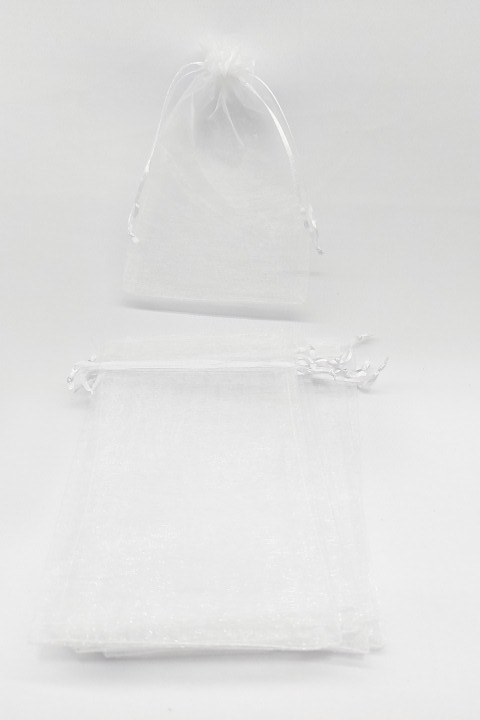 Saco de Organza 12x17 Branco  pacote com 100 unidades