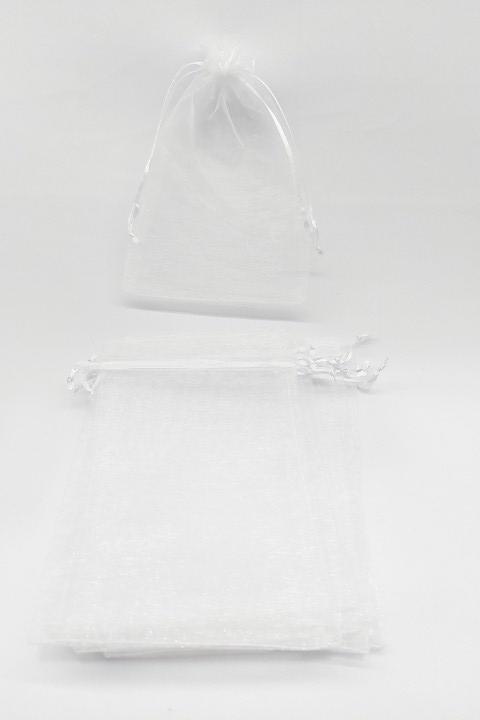 Saco de Organza 12x17 Branco  pacote com 10 unidades