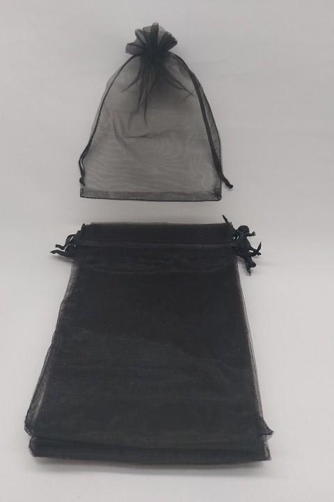 Saco de Organza 12x17 Preto  pacote com 10 unidades