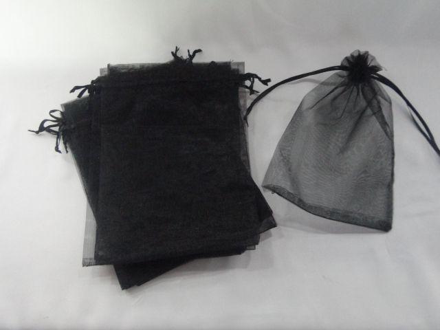 Saco de Organza 12x18 Preto  pacote com 10 unidades