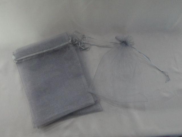 Saco de Organza 15x18 Cinza  pacote com 100 unidades
