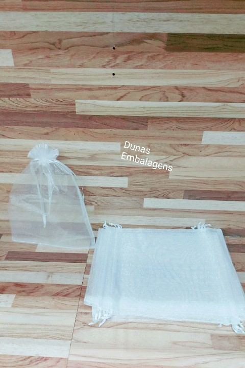 Saco de Organza 15x20 Branco pacote com 100 unidades
