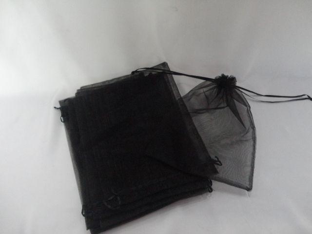 Saco de Organza 15x20 Preto pacote com 100 unidades