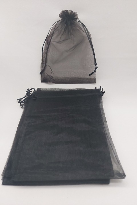 Saco de Organza 15x20 Preto pacote com 10 unidades