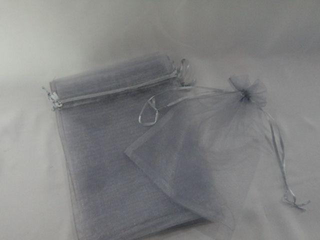 Saco de Organza 16x22 Cinza  pacote com 10 unidades